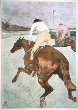 Henri de Toulouse-Lautrec (French, 1864-1901). <em>The Jockey (Le Jockey)</em>, 1899. Color lithograph on China paper, 20 1/4 x 14 1/8 in. (51.5 x 36.0 cm). Brooklyn Museum, Brooklyn Museum Collection, 37.20 (Photo: Brooklyn Museum, 37.20_SL1.jpg)
