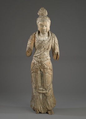 <em>Standing Bodhisattva</em>, 1115-1234. Wood, traces of polychrome, 56 5/16 x 18 1/2 x 10 5/8 in., 32 lb. (143 x 47 x 27 cm, 14.52kg). Brooklyn Museum, Brooklyn Museum Collection, 37.223. Creative Commons-BY (Photo: Brooklyn Museum, 37.223_front_PS6.jpg)