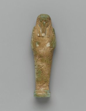 <em>Ushabti of Nesi-Yotf</em>, 664-343 B.C.E. Faience, 3 3/4 x 1 3/16 x 13/16 in. (9.5 x 3 x 2 cm). Brooklyn Museum, Charles Edwin Wilbour Fund, 37.226E. Creative Commons-BY (Photo: Brooklyn Museum, 37.226E_front_PS2.jpg)