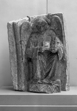 Spanish. <em>Angel</em>, late 13th century. Polychrome marble, 25 13/16 x 20 1/16 in. (65.5 x 51 cm). Brooklyn Museum, Frank L. Babbott Fund and A. Augustus Healy Fund, 37.227. Creative Commons-BY (Photo: Brooklyn Museum, 37.227_acetate_bw.jpg)