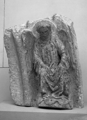 Spanish. <em>Angel</em>, late 13th century. Polychrome marble, 26 x 21 1/4 in. (66 x 54 cm). Brooklyn Museum, Frank L. Babbott Fund and A. Augustus Healy Fund, 37.228. Creative Commons-BY (Photo: Brooklyn Museum, 37.228_acetate_bw.jpg)