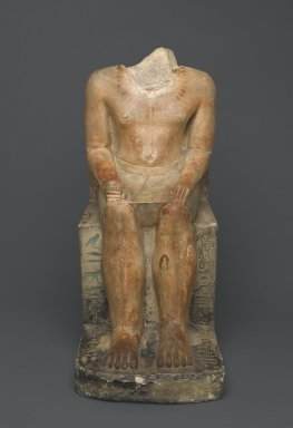 <em>Seated Statue of Nakhtsaes</em>, ca. 2371–2298 B.C.E. Limestone, pigment, 24 1/2 x 10 1/4 x 16 3/4 in. (62.2 x 26 x 42.5 cm). Brooklyn Museum, Charles Edwin Wilbour Fund, 37.22E. Creative Commons-BY (Photo: Brooklyn Museum, 37.22E_front_PS1.jpg)
