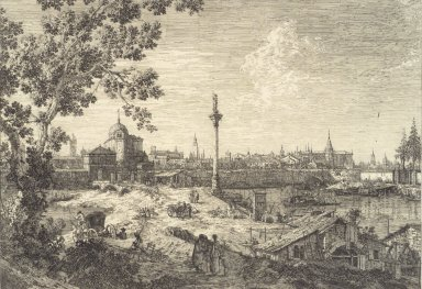 Giovanni Antonio Canal, called Canaletto (Italian, Venetian, 1697-1768). <em>Panorma d'une Ville Baignee par une Riviere, or Murano</em>. Etching on laid paper, 11 13/16 x 17 in. (30 x 43.2 cm). Brooklyn Museum, Frank L. Babbott Fund, 37.23 (Photo: Brooklyn Museum, 37.23.jpg)