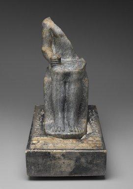 <em>Seated Statuette of Sekhemka</em>, ca. 2400-2345 B.C.E. Anorthosite gneiss, limestone, pigment, 15 1/4 x 7 7/8 x 16 1/4 in., 56 lb. (38.7 x 20 x 41.3 cm, 25.4kg). Brooklyn Museum, Charles Edwin Wilbour Fund, 37.23Ea-b. Creative Commons-BY (Photo: Brooklyn Museum, 37.23E_front_PS2.jpg)
