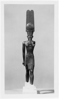 <em>Amun-Re in a Crown with Tall Plumes</em>, ca. 760-656 B.C.E. Bronze, gold, 7 15/16 x 1 1/2 x 1 7/16 in. (20.2 x 3.8 x 3.7 cm). Brooklyn Museum, Charles Edwin Wilbour Fund, 37.254E. Creative Commons-BY (Photo: Brooklyn Museum, 37.254E_print_bw_SL1.jpg)