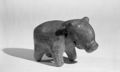 <em>Figure of Peccary</em>. Ceramic, pigment, 2 15/16 x 4 13/16 in. (7.5 x 12.3 cm). Brooklyn Museum, Frank Sherman Benson Fund and the Henry L. Batterman Fund, 37.2602PA. Creative Commons-BY (Photo: Brooklyn Museum, 37.2602PA_acetate_bw.jpg)