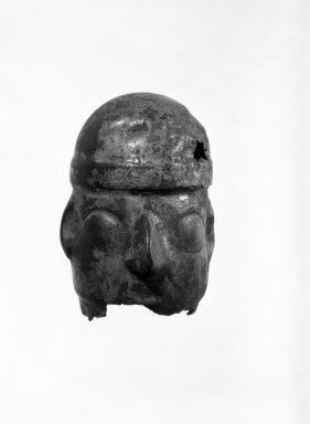 <em>Head</em>. Silver, 2 x 1 1/2 in. (5.1 x 3.8 cm). Brooklyn Museum, Frank Sherman Benson Fund and the Henry L. Batterman Fund, 37.2689PA. Creative Commons-BY (Photo: Brooklyn Museum, 37.2689PA_bw.jpg)