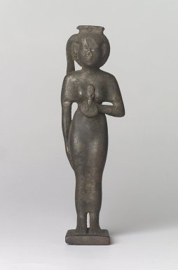 Egyptian. <em>Statue of the Goddess Bast</em>, 664-332 B.C.E. Bronze, gold, electrum, 7 1/4 x 2 1/4 x 1 11/16 in. (18.4 x 5.7 x 4.3 cm). Brooklyn Museum, Charles Edwin Wilbour Fund, 37.269E. Creative Commons-BY (Photo: Brooklyn Museum, 37.269E_front.jpg)