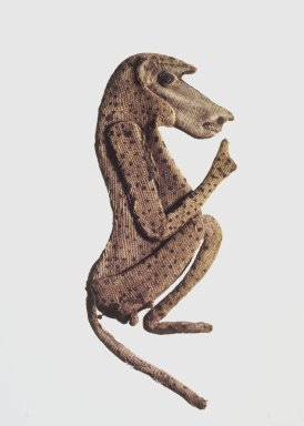 <em>Baboon Appliqué</em>, 305–30 B.C.E. Linen, 5 1/2 x 2 3/8 x 1/4 in. (14 x 6 x 0.6 cm). Brooklyn Museum, Charles Edwin Wilbour Fund, 37.272E. Creative Commons-BY (Photo: Brooklyn Museum, 37.272E.jpg)