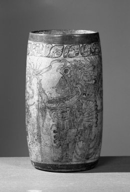 Maya. <em>Cylindrical Jar</em>, 700-900. Ceramic, pigment, 9 5/16 x 5 x 5 in. (23.7 x 12.7 x 12.7 cm). Brooklyn Museum, Frank Sherman Benson Fund and the Henry L. Batterman Fund, 37.2782PA. Creative Commons-BY (Photo: Brooklyn Museum, 37.2782PA_acetate_bw.jpg)