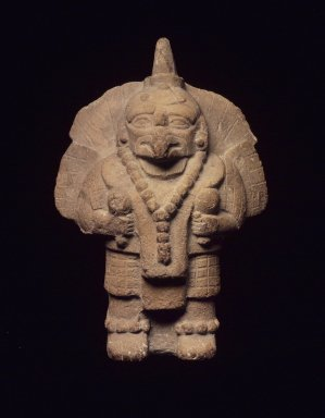 Maya. <em>Figurine (Rattle)</em>. Ceramic, 7 1/4 x 5 x 3 1/4 in. (18.4 x 12.7 x 8.3 cm). Brooklyn Museum, Frank Sherman Benson Fund and the Henry L. Batterman Fund, 37.2785PA. Creative Commons-BY (Photo: Brooklyn Museum, 37.2785PA.jpg)