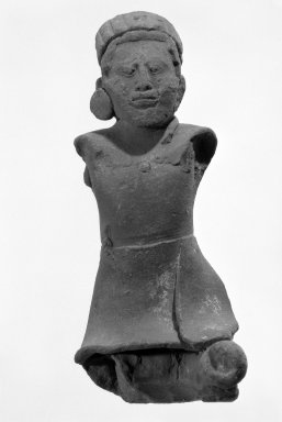 Maya. <em>Figurine</em>. Reddish clay Brooklyn Museum, Frank Sherman Benson Fund and the Henry L. Batterman Fund, 37.2789PA. Creative Commons-BY (Photo: Brooklyn Museum, 37.2789PA_bw.jpg)