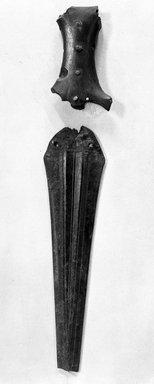Syrian. <em>Asian Dagger</em>, ca. 1630-1539 B.C.E. Copper alloy, horn, 9 5/16 x 3/4 in. (23.7 x 1.9 cm). Brooklyn Museum, Charles Edwin Wilbour Fund, 37.284E. Creative Commons-BY (Photo: Brooklyn Museum, 37.284E_NegA_glass_bw_SL4.jpg)