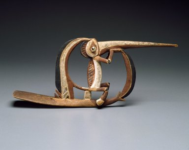 <em>Dance Ornament</em>, 19th century. Wood, Turbo petholatus opercula, pigment, 7 1/2 x 19 x 2 1/2 in. (19.1 x 48.3 x 6.4 cm). Brooklyn Museum, Frank Sherman Benson Fund and the Henry L. Batterman Fund, 37.2892PA. Creative Commons-BY (Photo: Brooklyn Museum, 37.2892PA_SL3.jpg)