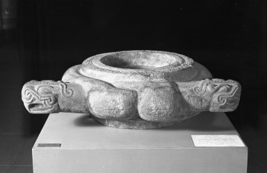 Huastec. <em>Bowl or Alter</em>. Grayish stone, 8 1/4 x 30 11/16 x 25 in.  (21 x 78 x 63.5 cm). Brooklyn Museum, Frank Sherman Benson Fund and the Henry L. Batterman Fund, 37.2896PA. Creative Commons-BY (Photo: Brooklyn Museum, 37.2896PA_acetate_bw.jpg)