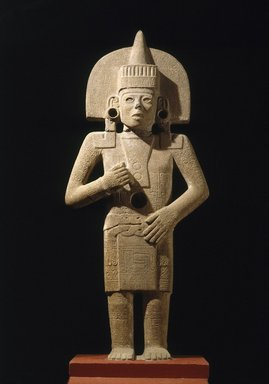 Huastec. <em>Life-Death Figure</em>, 900-1250. Sandstone, traces of pigment, 62 3/8 x 26 x 11 1/2 in. (158.4 x 66 x 29.2 cm). Brooklyn Museum, Frank Sherman Benson Fund and the Henry L. Batterman Fund, 37.2897PA. Creative Commons-BY (Photo: Brooklyn Museum, 37.2897PA_view3_SL1.jpg)