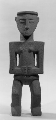Chiriquí Style. <em>Statue of Woman</em>, 900-1600. Stone, 24 x 8 1/2 x 6 in. (61 x 21.6 x 15.2 cm). Brooklyn Museum, Frank Sherman Benson Fund and the Henry L. Batterman Fund, 37.2901PA. Creative Commons-BY (Photo: Brooklyn Museum, 37.2901PA_acetate_bw.jpg)