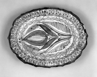 Tonala. <em>Tray</em>, 19th century. Ceramic, pigment, 1 1/8 x 7 1/8 x 9 1/2 in. (2.9 x 18.1 x 24.1 cm). Brooklyn Museum, Frank Sherman Benson Fund and the Henry L. Batterman Fund, 37.2947PA. Creative Commons-BY (Photo: Brooklyn Museum, 37.2947PA_bw.jpg)