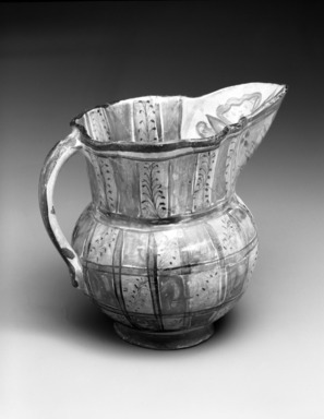 Tonala. <em>Pitcher</em>, circa 1848. Ceramic, pigment, glaze, 6 3/4 x 5 x 8in. (17.1 x 12.7 x 20.3cm). Brooklyn Museum, Frank Sherman Benson Fund and the Henry L. Batterman Fund, 37.2965PA. Creative Commons-BY (Photo: Brooklyn Museum, 37.2965PA_bw.jpg)