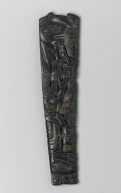 Haida. <em>Carved Pipe</em>, early 19th century. Argillite, pigment traces, 11 7/16 x 4 1/8 x 3/4 in. (29.1 x 10.5 x 1.9 cm). Brooklyn Museum, Frank Sherman Benson Fund and the Henry L. Batterman Fund, 37.2982PA. Creative Commons-BY (Photo: Brooklyn Museum, 37.2982PA_side1_PS1.jpg)