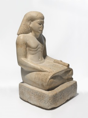 <em>Amunhotep, Son of Nebiry</em>, ca. 1426-1400 B.C.E. Limestone, pigment, 25 3/8 × 14 5/16 × 14 3/8 in., 206 lb. (64.5 × 36.3 × 36.5 cm, 93.44kg). Brooklyn Museum, Charles Edwin Wilbour Fund, 37.29E. Creative Commons-BY (Photo: , 37.29E_threequarter_PS9.jpg)