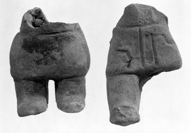 <em>Lower Part of Hollow Figurine</em>. Gray clay Brooklyn Museum, Frank Sherman Benson Fund and the Henry L. Batterman Fund, 37.3016PA. Creative Commons-BY (Photo: , 37.3016PA_37.3017PA_bw.jpg)