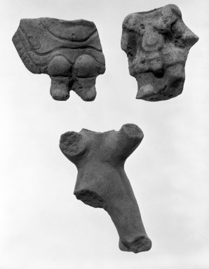 <em>Headless Figurine</em>. Light brown clay Brooklyn Museum, Frank Sherman Benson Fund and the Henry L. Batterman Fund, 37.3018PA. Creative Commons-BY (Photo: , 37.3018PA_37.3019PA_37.3026PA_bw.jpg)