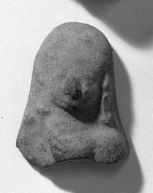 <em>Head and Shoulders from Figurine</em>. Grayish clay Brooklyn Museum, Frank Sherman Benson Fund and Henry L. Batterman Fund, 37.3031PA. Creative Commons-BY (Photo: Brooklyn Museum, 37.3031PA_acetate_bw.jpg)