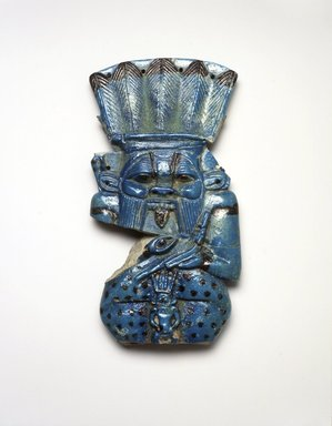 <em>Figure of the God Bes</em>, ca. 945-712 B.C.E., or later. Faience, 6 7/8 x 3 5/8 x 7/8 in. (17.5 x 9.2 x 2.3 cm). Brooklyn Museum, Charles Edwin Wilbour Fund, 37.309E. Creative Commons-BY (Photo: Brooklyn Museum, 37.309E_transp6128.jpg)