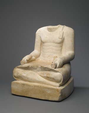<em>Djehuti</em>, ca. 1539-1390 B.C.E. Limestone, 16 5/8 × 14 3/16 × 12 13/16 in., 100 lb. (42.2 × 36 × 32.5 cm, 45.36kg). Brooklyn Museum, Charles Edwin Wilbour Fund, 37.30E. Creative Commons-BY (Photo: Brooklyn Museum, 37.30E_threequarter_PS1.jpg)