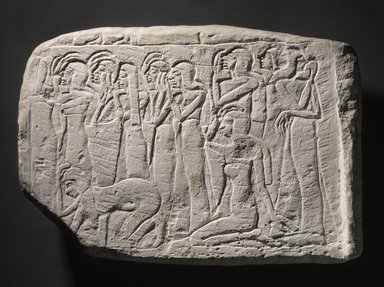 <em>Relief of Mourning Women</em>, ca. 1319-1204 B.C.E. Limestone, 11 7/16 x 16 1/4 x 2 13/16 in. (29 x 41.2 x 7.2 cm). Brooklyn Museum, Charles Edwin Wilbour Fund, 37.31E. Creative Commons-BY (Photo: Brooklyn Museum, 37.31E_PS9.jpg)