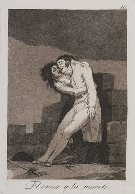 Francisco de Goya y Lucientes (Spanish, 1746-1828). <em>Love and Death (El amor y la muerte)</em>, 1797-1798. Etching, aquatint, and burin on laid paper, Sheet: 11 15/16 x 8 in. (30.3 x 20.3 cm). Brooklyn Museum, A. Augustus Healy Fund, Frank L. Babbott Fund, and Carll H. de Silver Fund, 37.33.10 (Photo: , 37.33.10_PS9.jpg)
