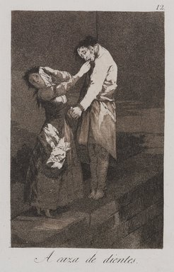 Francisco de Goya y Lucientes (Spanish, 1746-1828). <em>Out Hunting for Teeth (A caza de dientes)</em>, 1797-1798. Etching, aquatint, and burin on laid paper, Sheet (Uneven): 11 7/8 x 8 in. (30.2 x 20.3 cm). Brooklyn Museum, A. Augustus Healy Fund, Frank L. Babbott Fund, and Carll H. de Silver Fund, 37.33.12 (Photo: , 37.33.12_PS9.jpg)
