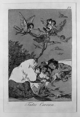 Francisco de Goya y Lucientes (Spanish, 1746-1828). <em>All Will Fall (Todos caerán)</em>, 1797-1798. Etching and aquatint on laid paper, Sheet: 11 7/8 x 8 in. (30.2 x 20.3 cm). Brooklyn Museum, A. Augustus Healy Fund, Frank L. Babbott Fund, and Carll H. de Silver Fund, 37.33.19 (Photo: Brooklyn Museum, 37.33.19_acetate_bw.jpg)