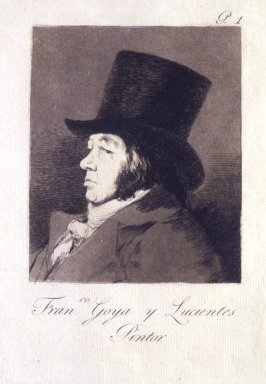 Francisco de Goya y Lucientes (Spanish, 1746-1828). <em>Francisco Goya y Lucientes, Painter (Francisco Goya y Lucientes, Pintor)</em>, 1797-1798. Etching, aquatint, drypoint, and burin on laid paper, Sheet: 11 13/16 x 7 5/8 in. (30 x 19.4 cm). Brooklyn Museum, A. Augustus Healy Fund, Frank L. Babbott Fund, and Carll H. de Silver Fund, 37.33.1 (Photo: Brooklyn Museum, 37.33.1_transp1318.jpg)