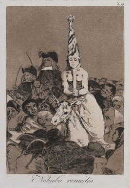 Francisco de Goya y Lucientes (Spanish, 1746-1828). <em>Nothing Could Be Done About It (Nohubo remedio)</em>, 1797-1798. Etching and aquatint on laid paper, Sheet: 11 13/16 x 8 15/16 in. (30 x 22.7 cm). Brooklyn Museum, A. Augustus Healy Fund, Frank L. Babbott Fund, and Carll H. de Silver Fund, 37.33.24 (Photo: , 37.33.24_PS9.jpg)