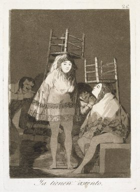 Francisco de Goya y Lucientes (Spanish, 1746-1828). <em>They've Already Got a Seat (Ya tienen asiento)</em>, 1797-1798. Etching and aquatint on laid paper, Sheet: 11 7/8 x 7 7/8 in. (30.2 x 20 cm). Brooklyn Museum, A. Augustus Healy Fund, Frank L. Babbott Fund, and Carll H. de Silver Fund, 37.33.26 (Photo: Brooklyn Museum, 37.33.26_SL1.jpg)