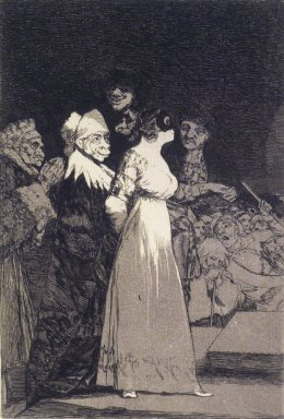 Francisco de Goya y Lucientes (Spanish, 1746-1828). <em>They Say Yes and Give Their Hand to the First Comer (El si pronuncian y la mano alargan al primero que llega)</em>, 1797-1798. Etching and aquatint on laid paper, Sheet: 11 7/8 x 7 7/8 in. (30.2 x 20 cm). Brooklyn Museum, A. Augustus Healy Fund, Frank L. Babbott Fund, and Carll H. de Silver Fund, 37.33.2 (Photo: Brooklyn Museum, 37.33.2_transp5007.jpg)