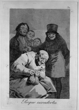 Francisco de Goya y Lucientes (Spanish, 1746-1828). <em>Why Hide Them? (Porque esconderlos?)</em>, 1797-1798. Etching, aquatint and drypoint on laid paper, Sheet: 11 7/8 x 8 in. (30.2 x 20.3 cm). Brooklyn Museum, A. Augustus Healy Fund, Frank L. Babbott Fund, and Carll H. de Silver Fund, 37.33.30 (Photo: Brooklyn Museum, 37.33.30_acetate_bw.jpg)