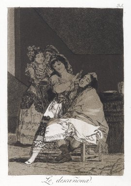 Francisco de Goya y Lucientes (Spanish, 1746-1828). <em>She Fleeces Him (Le descañona)</em>, 1797-1798. Etching and aquatint on laid paper, Sheet: 11 7/8 x 7 15/16 in. (30.2 x 20.2 cm). Brooklyn Museum, A. Augustus Healy Fund, Frank L. Babbott Fund, and Carll H. de Silver Fund, 37.33.35 (Photo: Brooklyn Museum, 37.33.35_PS6.jpg)