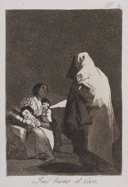 Francisco de Goya y Lucientes (Spanish, 1746-1828). <em>Here Comes the Bogey-Man (Que viene el Coco)</em>, 1797-1798. Etching and aquatint on laid paper, Sheet: 11 15/16 x 7 15/16 in. (30.3 x 20.2 cm). Brooklyn Museum, A. Augustus Healy Fund, Frank L. Babbott Fund, and Carll H. de Silver Fund, 37.33.3 (Photo: , 37.33.3_PS9.jpg)
