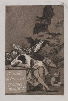 Francisco de Goya y Lucientes (Spanish, 1746-1828). <em>The Sleep of Reason Produces Monsters (El sueño de la razon produce monstruos)</em>, 1797-1798. Etching and aquatint on laid paper, Sheet: 11 7/8 x 8 in. (30.2 x 20.3 cm). Brooklyn Museum, A. Augustus Healy Fund, Frank L. Babbott Fund, and Carll H. de Silver Fund, 37.33.43 (Photo: , 37.33.43_PS9.jpg)