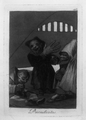 Francisco de Goya y Lucientes (Spanish, 1746-1828). <em>Hobgoblins (Duendecitos)</em>, 1797-1798. Etching and aquatint on laid paper, Sheet: 11 7/8 x 7 15/16 in. (30.2 x 20.2 cm). Brooklyn Museum, A. Augustus Healy Fund, Frank L. Babbott Fund, and Carll H. de Silver Fund, 37.33.49 (Photo: Brooklyn Museum, 37.33.49_acetate_bw.jpg)