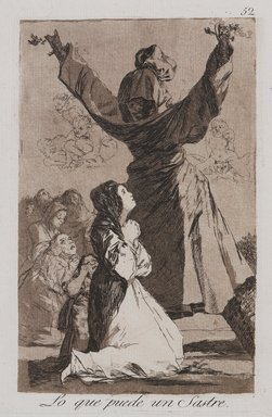 Francisco de Goya y Lucientes (Spanish, 1746-1828). <em>What a Tailor Can Do! (Lo que puede un sastre!)</em>, 1797-1798. Etching and aquatint on laid paper, Sheet: 11 7/8 x 8 in. (30.2 x 20.3 cm). Brooklyn Museum, A. Augustus Healy Fund, Frank L. Babbott Fund, and Carll H. de Silver Fund, 37.33.52 (Photo: , 37.33.52_PS9.jpg)