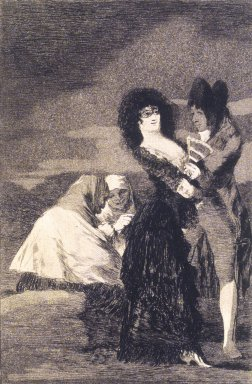 Francisco de Goya y Lucientes (Spanish, 1746-1828). <em>Two of a Kind (Tal para qual)</em>, 1797-1798. Etching, aquatint, and drypoint on laid paper, Sheet: 11 7/8 x 8 in. (30.2 x 20.3 cm). Brooklyn Museum, A. Augustus Healy Fund, Frank L. Babbott Fund, and Carll H. de Silver Fund, 37.33.5 (Photo: Brooklyn Museum, 37.33.5_transp5010.jpg)
