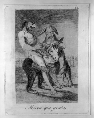 Francisco de Goya y Lucientes (Spanish, 1746-1828). <em>Miren Que Grabes</em>, 1797-1798. Etching and aquatint on laid paper, Sheet: 11 7/8 x 8 in. (30.2 x 20.3 cm). Brooklyn Museum, A. Augustus Healy Fund, Frank L. Babbott Fund, and Carll H. de Silver Fund, 37.33.63 (Photo: Brooklyn Museum, 37.33.63_acetate_bw.jpg)