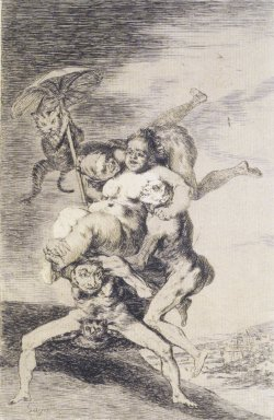 Francisco de Goya y Lucientes (Spanish, 1746-1828). <em>Where is Mother Going? (Donde va Mama?)</em>, 1797-1798. Etching and aquatint on laid paper, Sheet: 11 7/8 x 7 15/16 in. (30.2 x 20.2 cm). Brooklyn Museum, A. Augustus Healy Fund, Frank L. Babbott Fund, and Carll H. de Silver Fund, 37.33.65 (Photo: Brooklyn Museum, 37.33.65_transp5011.jpg)