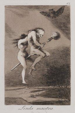 Francisco de Goya y Lucientes (Spanish, 1746-1828). <em>Pretty Teacher! (Linda maestra!)</em>, 1797-1798. Etching, aquatint, and drypoint on laid paper, Sheet: 11 7/8 x 8 in. (30.2 x 20.3 cm). Brooklyn Museum, A. Augustus Healy Fund, Frank L. Babbott Fund, and Carll H. de Silver Fund, 37.33.68 (Photo: , 37.33.68_PS9.jpg)