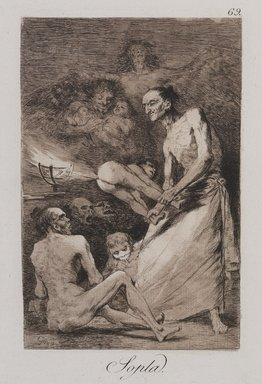 Francisco de Goya y Lucientes (Spanish, 1746-1828). <em>Blow (Sopla)</em>, 1797-1798. Etching and aquatint on laid paper, Sheet: 11 7/8 x 8 in. (30.2 x 20.3 cm). Brooklyn Museum, A. Augustus Healy Fund, Frank L. Babbott Fund, and Carll H. de Silver Fund, 37.33.69 (Photo: , 37.33.69_PS9.jpg)