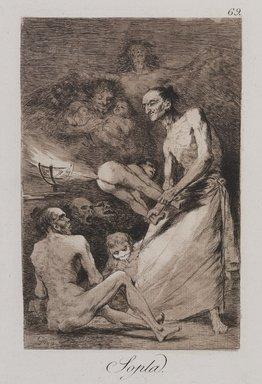 Francisco de Goya y Lucientes (Spanish, 1746-1828). <em>Blow (Sopla)</em>, 1797-1798. Etching and aquatint on laid paper, Sheet: 11 7/8 x 8 in. (30.2 x 20.3 cm). Brooklyn Museum, A. Augustus Healy Fund, Frank L. Babbott Fund, and Carll H. de Silver Fund, 37.33.69 (Photo: , 37.33.69_PS9.jpg)